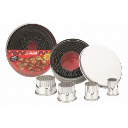 COUPE-PATE INOX ROND DENTELE-11 PCS DESTOCK